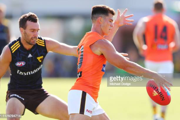Jaeger O'Meara of the Hawks kicks the ball during the Hawthorn Hawks AFL Intra Club Match at Waverley Park on February 13 2019 in Melbourne Australia