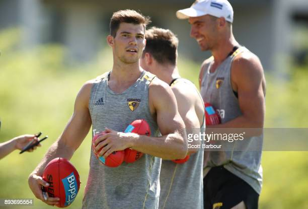 Jaeger O'Meara of the Hawks looks on during a Hawthorn Hawks AFL training session at Waverley Park on December 16 2017 in Melbourne Australia