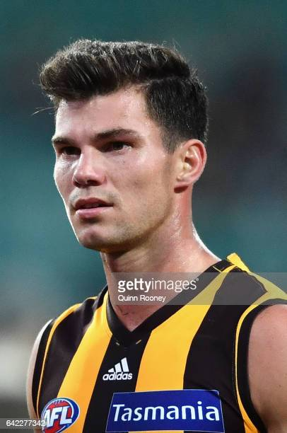 Jaeger O'Meara of the Hawks looks on during the 2017 JLT Community Series match between the Hawthorn Hawks and the Geelong Cats at University of...