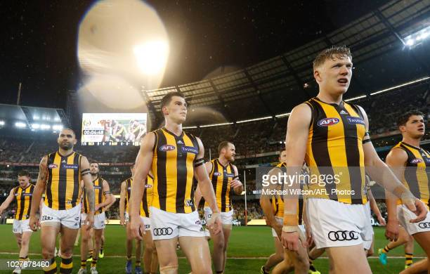 Jaeger O'Meara of the Hawks looks on during the 2018 AFL First Qualifying Final match between the Richmond Tigers and the Hawthorn Hawks at the...