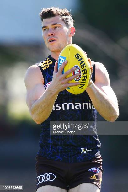 Jaeger O'Meara of the Hawks looks upfield during a Hawthorn Hawks AFL training session at Waverley Park on September 5 2018 in Melbourne Australia
