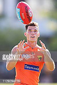 Jaeger O'Meara of the Hawks marks the ball during the Hawthorn Hawks AFL Intra Club Match at Waverley Park on February 13 2019 in Melbourne Australia