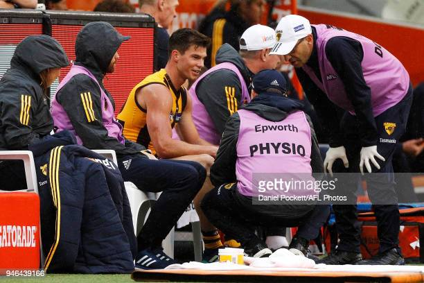 Jaeger O'Meara of the Hawks recieves medical attention on the bench during the round four AFL match between the Hawthorn Hawks and the Melbourne...