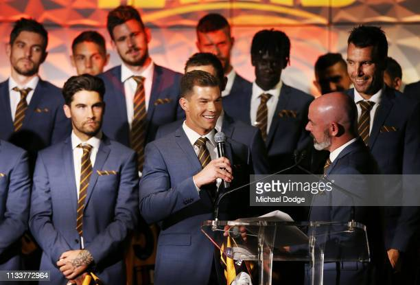 Jaeger O'Meara of the Hawks speaks on stage during the Hawthorn Hawks AFL season launch at Melbourne Cricket Ground on March 05 2019 in Melbourne...
