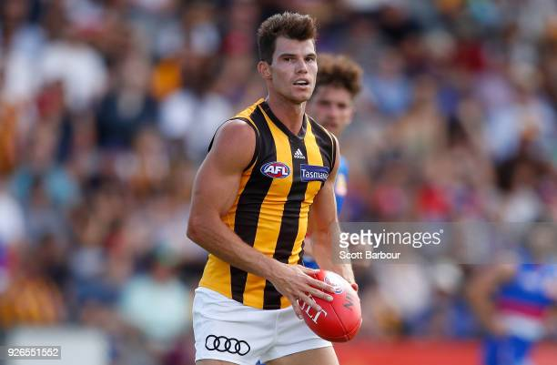 Jaeger O'Meara of the Hawthorn Hawks runs with the ball during the AFL JLT Community Series match between the Western Bulldogs and the Hawthorn Hawks...