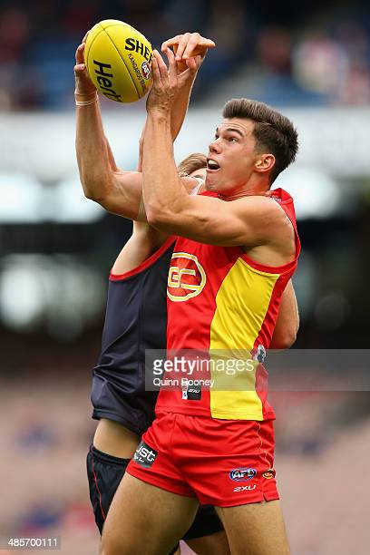 Jaeger O'Meara of the Suns marks during the round five AFL match between the Melbourne Demons and the Gold Coast Suns at Melbourne Cricket Ground on...