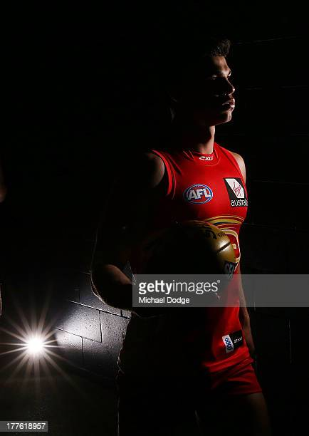 Jaeger O'Meara of the Suns walks out to the ground during the round 22 AFL match between the St Kilda Saints and the Gold Coast Suns at Etihad...