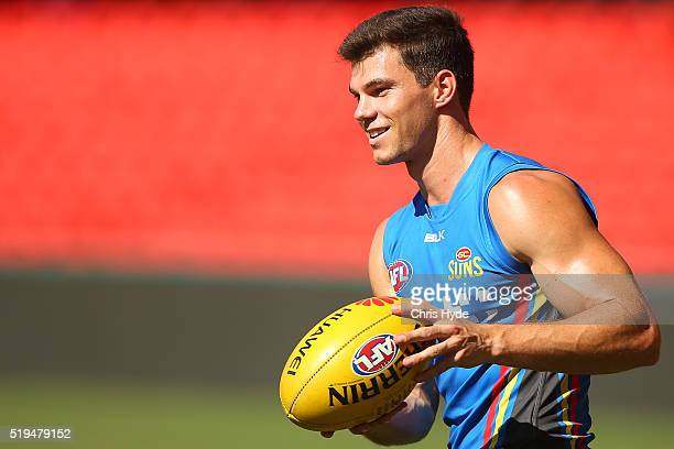 Jaeger O'Meara smiles during a Gold Coast Suns AFL training session at Metricon Stadium on April 7 2016 in Gold Coast Australia