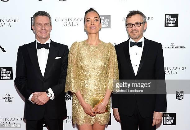 JaegerLeCoultre CEO Daniel Riedo actress Carmen Chaplin and JaegerLeCoultre director of communications Laurent Vinay attends the 41st Annual Chaplin...