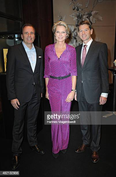 JaegerLeCoultre General Manager Northern Europe Juergen Bestian Stephanie von Pfuel and Stephane Belmont attend JaegerLeCoultre Cocktail at Charles...