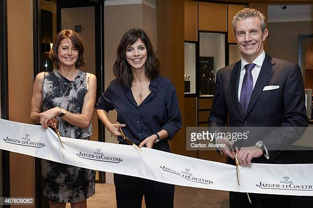 JaegerLeCoultre Spain director Mercedes Canos Spanish actress Maribel Verdu and JaegerLeCoultre CEO Daniel Riedo attend the opening of the new...