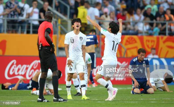 Jaehyeon Go and Kangin Lee of Korea Republic celebrate victory after the 2019 FIFA U-20 World Cup Round of 16 match between Japan and Korea Republic...