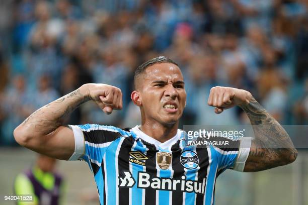 Jael of Brazil's Gremio celebrates after scoring against Monagas of Venezuela during their Copa Libertadores 2018 football match at the Arena do...