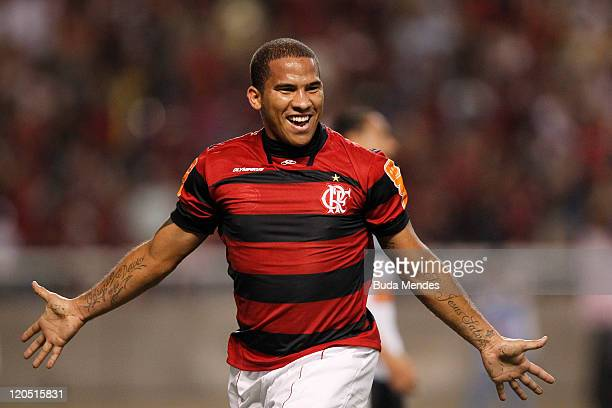 Jael of Flamengo celebrates a scored goal againist Coritiba during a match as part of Serie A 2011 at Engenhao stadium on August 06, 2011 in Rio de...