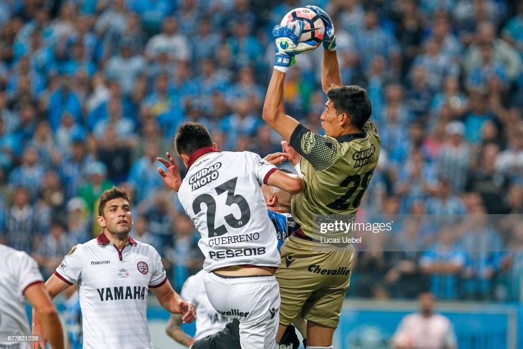 NOVEMBER 22 - Jael of Gremio battles for the ball against Esteban Andrada of Lanus during the match between Gremio and Lanus, part of Copa Bridgestone Libertadores 2017 Final, at Arena do Gremio on November 22, 2017, in Porto Alegre, Brazil.
