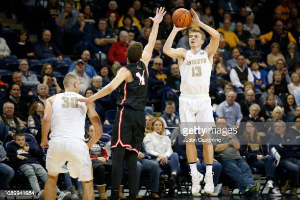 Jaelan Sanford of the Toledo Rockets shoots the ball in the game against the Ball State Cardinals during the second half at Savage Arena on January...