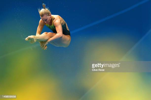 Jaele Patrick of Australia competes in the Women's 3m Springboard Diving final on Day 9 of the London 2012 Olympic Games at the Aquatics Centre on...