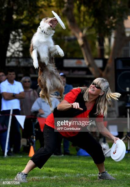 Jaeleen Sattler watches her border collie Sprint catch a frisbee during Disc Dogs event at the Woofstock 90210 dog show in Beverly Hills California...