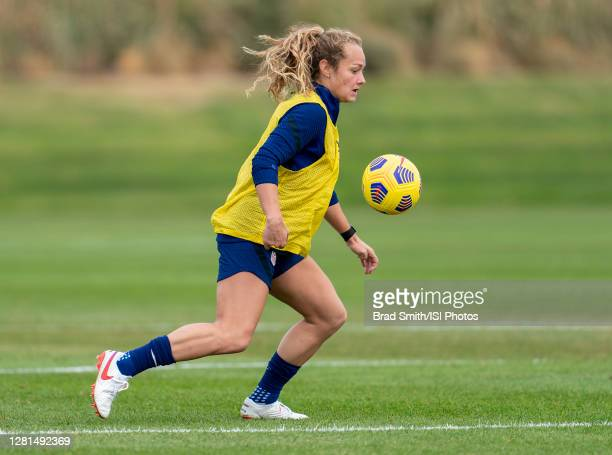 Jaelin Howell of the USWNT dribbles during a training session at Dick's Sporting Goods Park training fields on October 20 2020 in Commerce City...