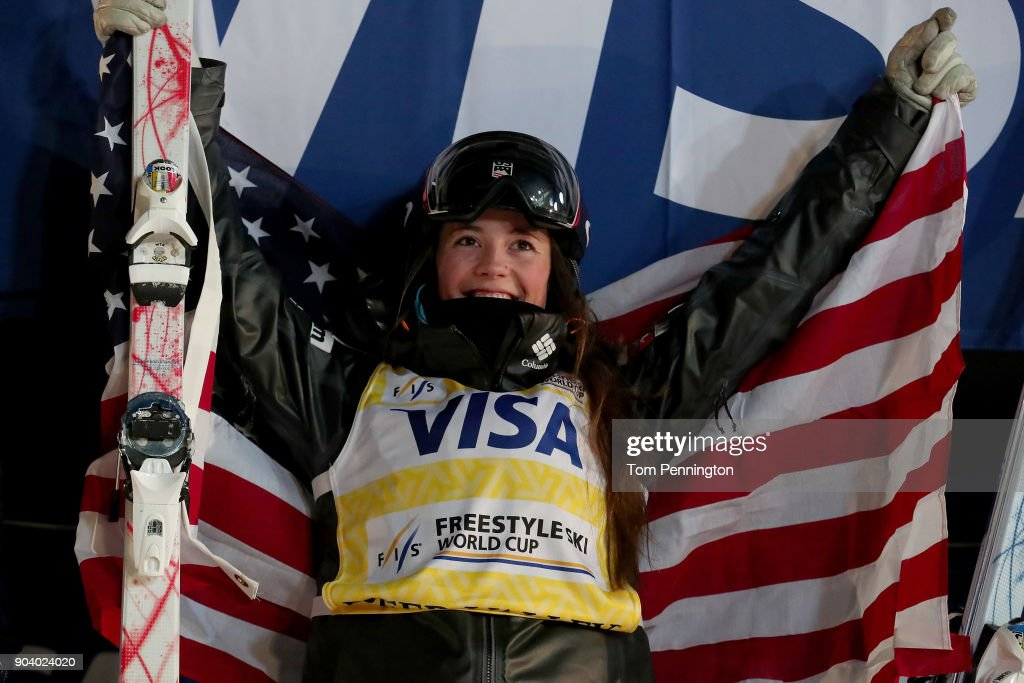 Jaelin Kauf of the United States celebrates after winning the Ladies' Moguls Finals during the 2018 FIS Freestyle Ski World Cup at Deer Valley Resort on January 11, 2018 in Park City, Utah.