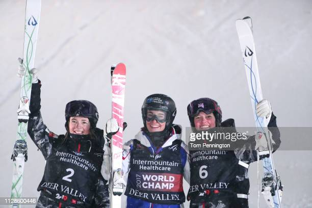 Jaelin Kauf of the United States in second place Perrine Laffont of France in first place and Tess Johnson of the United States in third place...