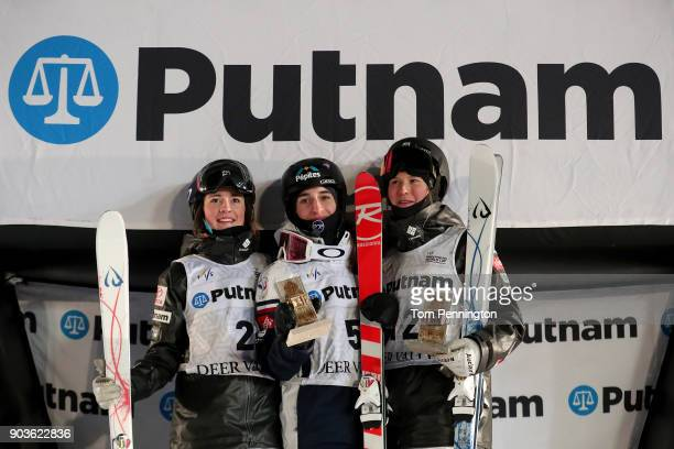Jaelin Kauf of the United States in second place Perrine Laffont of France in first place and Morgan Schild of the United States in third place...