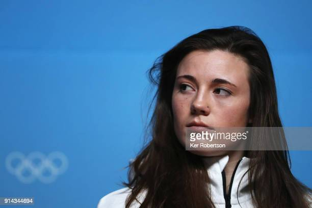 Jaelin Kauf of the United States Women's Moguls team attends a press conference at the Main Press Centre during previews ahead of the PyeongChang...