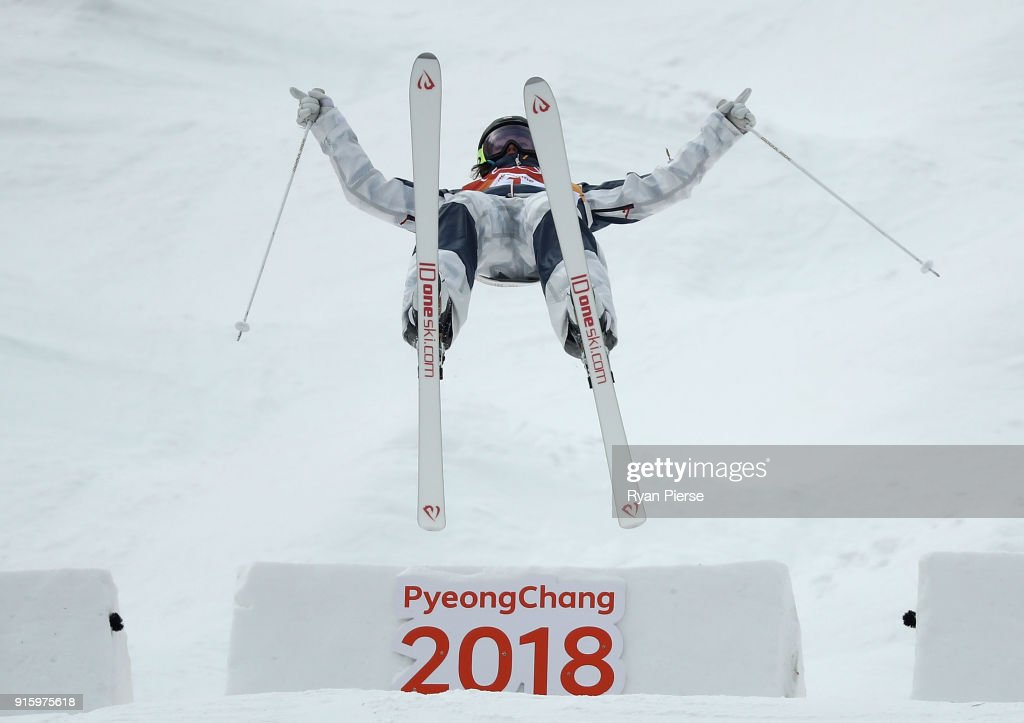 Jaelin Kauf of USA competes during the Women's Freestyle Skiing Moguls qualification ahead of the PyeongChang 2018 Winter Olympic Games at Phoenix Snow Park on February 9, 2018 in Pyeongchang-gun, South Korea.