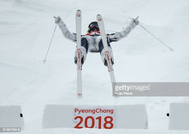 Jaelin Kauf of USA competes during the Women's Freestyle Skiing Moguls qualification ahead of the PyeongChang 2018 Winter Olympic Games at Phoenix...