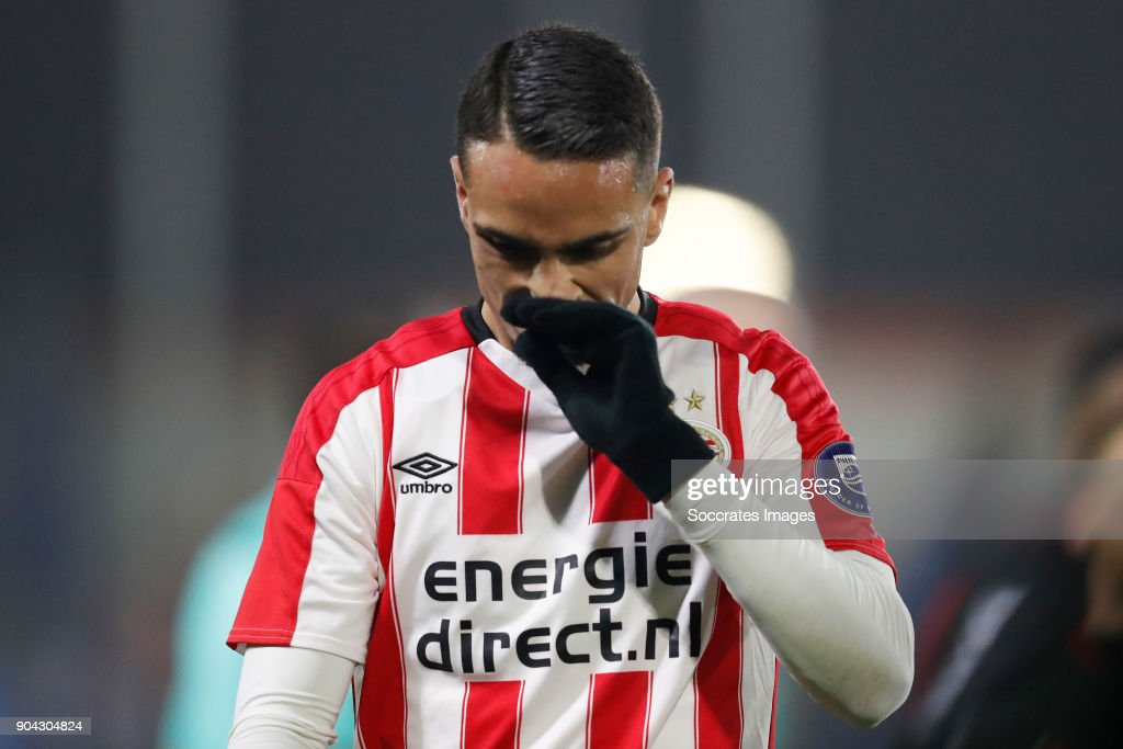 Jaell Hattu of PSV U23 Disappointed during the Dutch Jupiler League match between PSV U23 v Helmond Sport at the De Herdgang on January 12, 2018 in Eindhoven Netherlands