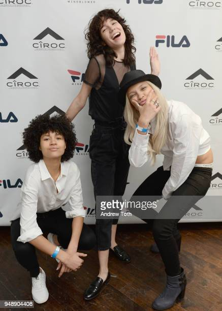 Jaelyn Carlton Inez Lopez and Victoria Riddle attend the Launch of the FILA Mindblower PopUp Powered by Ciroc on April 19 2018 in New York City