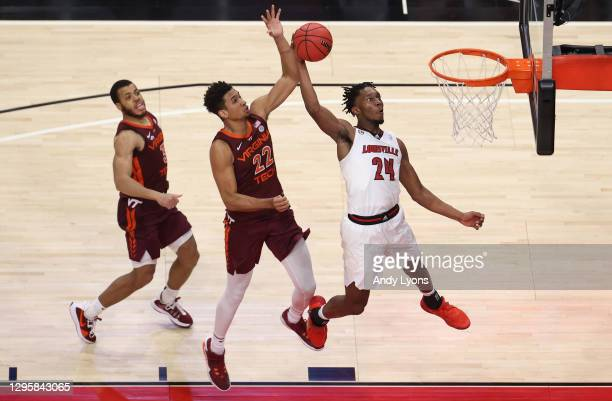Jae'Lyn Withers of the Louisville Cardinals shoots the ball against the Virginia Tech Hokies at KFC YUM! Center on January 06, 2021 in Louisville,...
