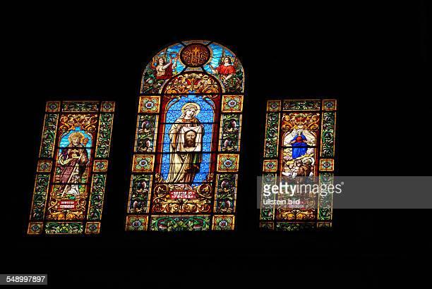 Jaen Die Darstellung der heiligen Veronika die mit diesem Tuch das Gesicht Jesu getrocknet haben soll hier in einem Fenster der Kathedrale
