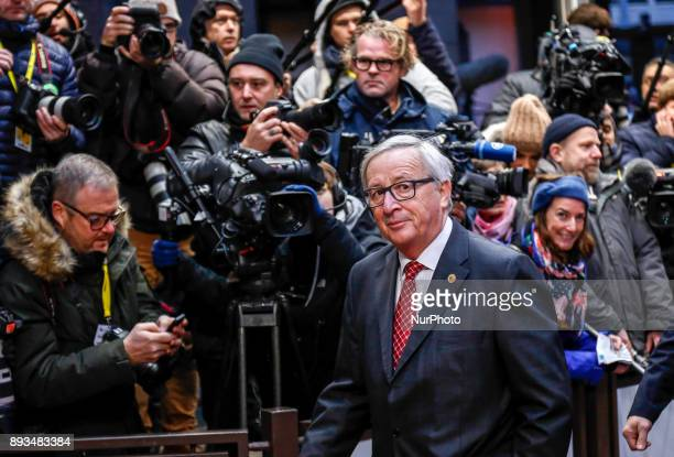 JaenClaude Juncker President of European Commission is arriving to the Europa building in Brussels Belgium for Euro Zone leaders summit on December...
