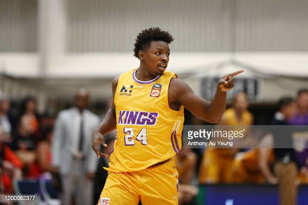 Jae'Sean Tate of the Kings celebrates a basket during the round 16 NBL match between the New Zealand Breakers and the Sydney Kings at TSB Stadium on...