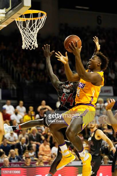 Jae'Sean Tate of the Kings drives to the basket during the round 17 NBL match between the Illawarra Hawks and the Sydney Kings at WIN Entertainment...