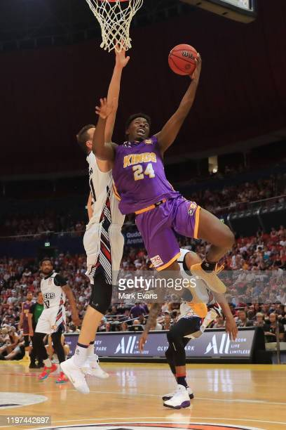 Jae'Sean Tate of the Kings shoots for the basket during the round 14 NBL match between the Sydney Kings and the Adelaide 36ers at Qudos Bank Arena on...