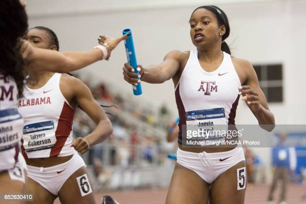 Jaevin Reed of Texas AM passes the baton in the women's 4x400 meter relay during the Division I Men's and Women's Indoor Track Field Championship...
