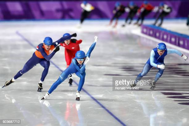 Jaewon Chung of Korea competes during the Men's Speed Skating Mass Start Semifinal 2 on day 15 of the PyeongChang 2018 Winter Olympic Games at...