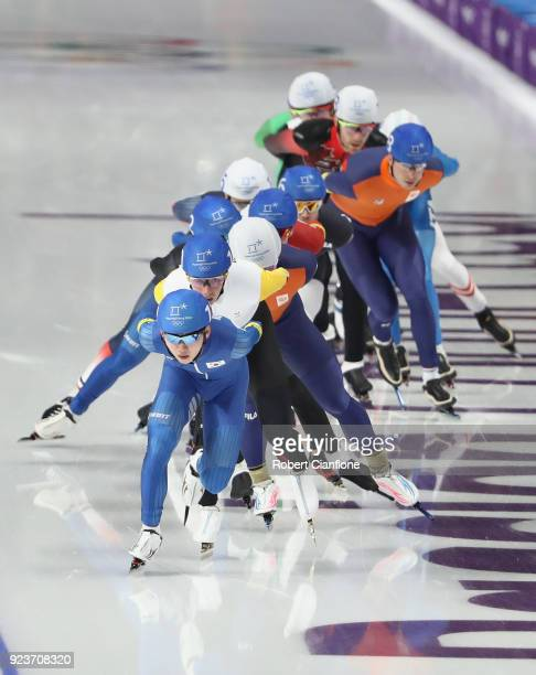 Jaewon Chung of Korea competes in the Men's Speed Skating Mass Start Final on day 15 of the PyeongChang 2018 Winter Olympic Games at Gangneung Oval...