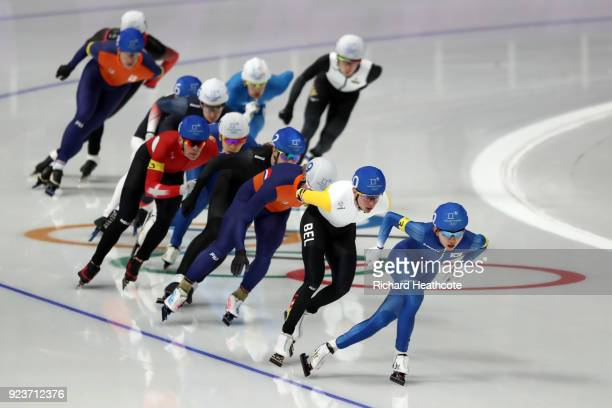 Jaewon Chung of Korea leads during the Men's Speed Skating Mass Start Final on day 15 of the PyeongChang 2018 Winter Olympic Games at Gangneung Oval...