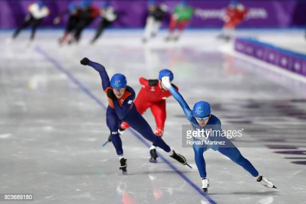 Jaewon Chung of Korea Sven Kramer of the Netherlands and Livio Wenger of Switzerland compete during the Men's Speed Skating Mass Start Semifinal 2 on...
