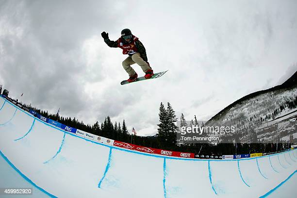 Jaewon Woo of Korea competes in the qualifying round of the FIS Freestyle Snowboard World Cup 2015 men's snowboard halfpipe during the USSA Grand...