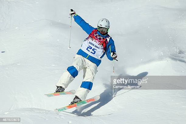 JaeWoo Choi of South Korea practices during the Men's and Ladies Moguls official training session ahead of the the Sochi 2014 Winter Olympics at Rosa...