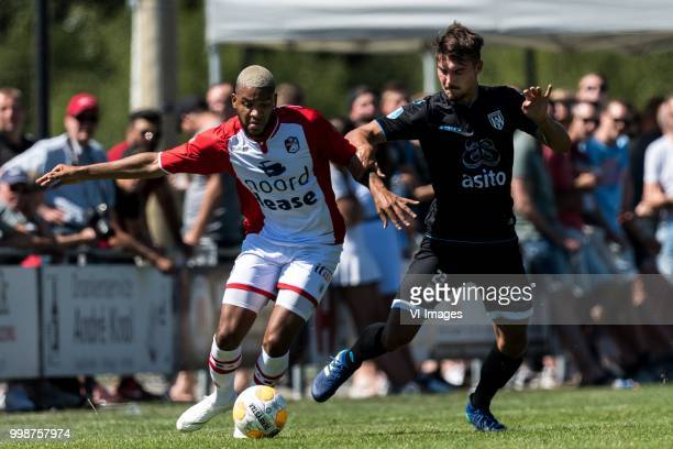 Jafar Arias of FC Emmen Maximilian Rossmann of Heracles Almelo during the Friendly match between Heracles Almelo and FC Emmen at Sportcomplex 't...