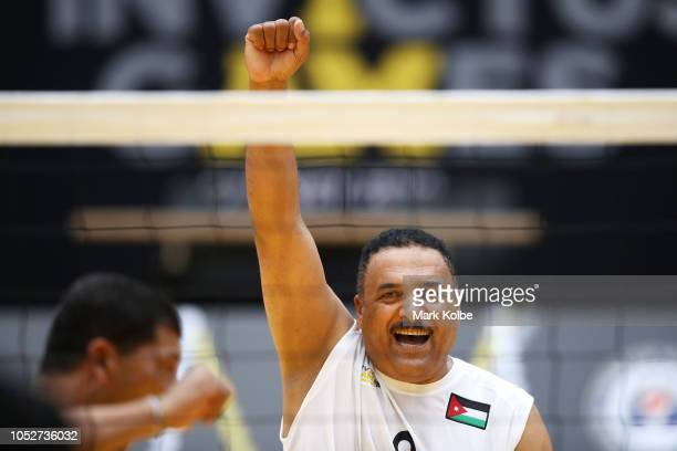 Jafar Salameh Salem AlMaradat of Jordan celebrates a point in the sitting volleyball match between Jordan and Afghanistan during day three of the...