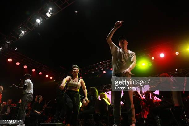 Jafaris, Jess Kav and Mango performs at 2FM Live: The Story of Hip Hop with the RTE Concert Orchestra Electric Picnic 2018 at Stradbally Hall Estate...
