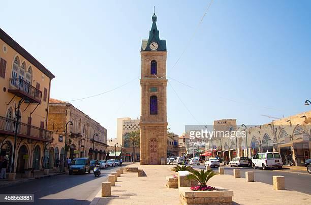 jaffa street and clock tower, israel - clock tower stock pictures, royalty-free photos & images