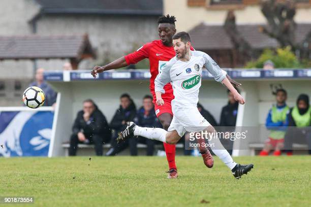 Jaffray Nsimba of Concarneau and Anthony Buon of Houilles during the french National Cup match between Houilles and Concarneau on January 6 2018 in...