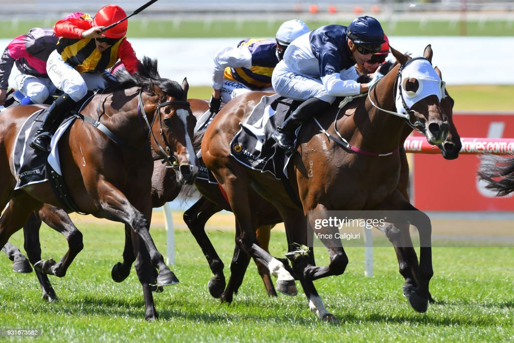 Jag Guthmann-Chester riding Heptagon wins Race 1, National Apprentice Riders during Melbourne Racing at Sandown on March 14, 2018 in Melbourne, Australia.